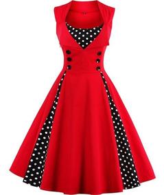 Vestido De Bolinha Anos 60 Vintage Retrô P Ao Plus Size P01