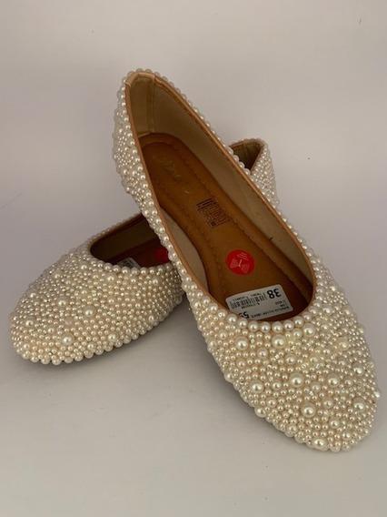 Sapato Scarpin Sapatilha Perola Cristais Sob Medida