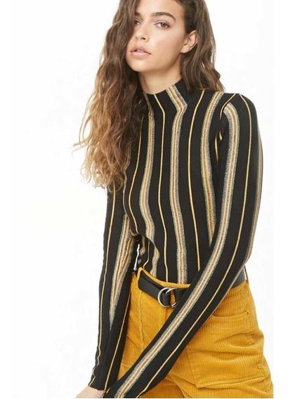 Suéter Estampado Rayas Metálicas