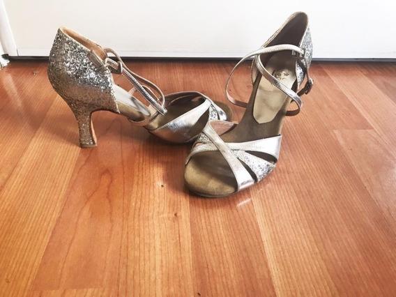 Zapatos De Baile Salsa Bachata Tango Plateados Con Brillo