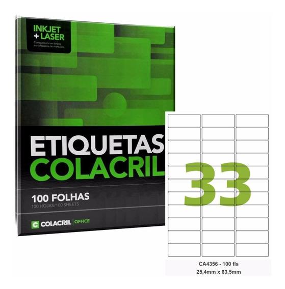 Etiqueta Colacril Adesiva A4 Ca4356 25,4 X 63,5 Mm 500folhas