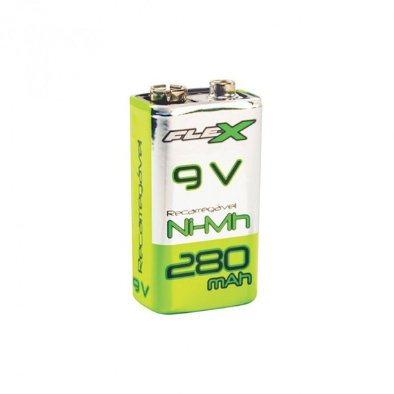 Bateria Flex Recarregável 9v 280 Mah