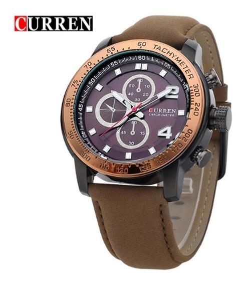 Relógio Masculino Curren 8190 Pulseira Couro Quartz Promoção