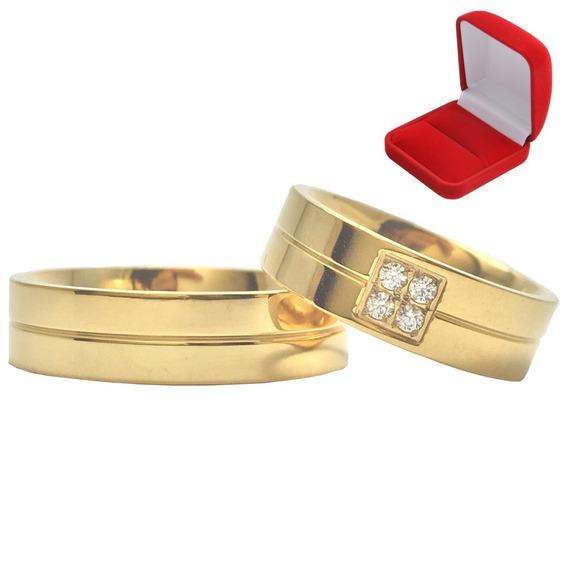 Par Alianças Banhada Ouro Noivado Casamento Tradicional 6mm