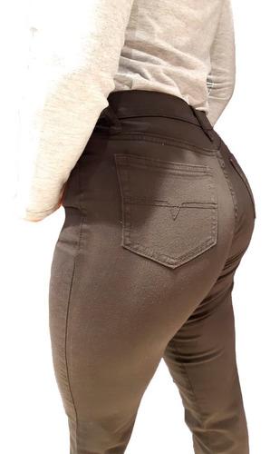 Pantalon Mujer Gabardina Elastizada Talles Grandes Negro Popy Talles Especiales