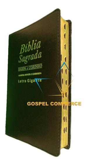 Kit 2 Bíblia Sagrada Letra Gigante Harpa Ed Promessas Preta
