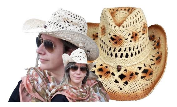 3 Chapéu Country Feminino Sertanejo Cowboy Rodeio Palha Peão