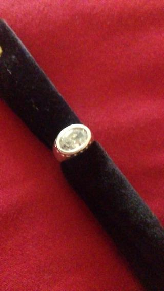 Anel De Prata, Com Pedra Zircônia, 17cm