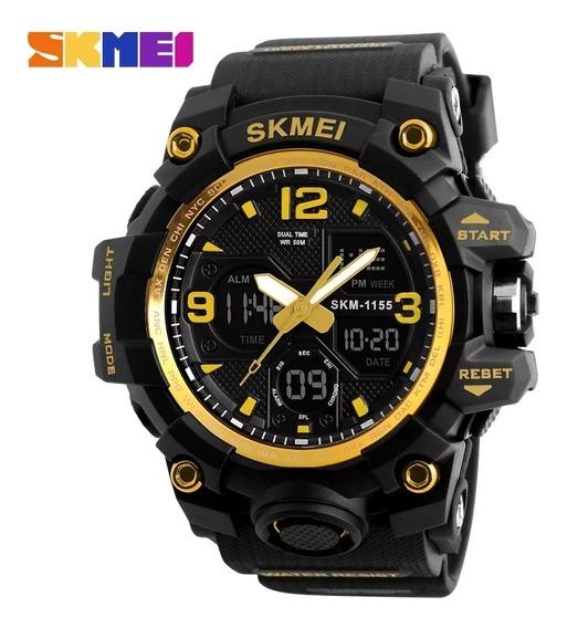 Relógio Masculino Skmei 1155 Black Golden Com Frete Grátis