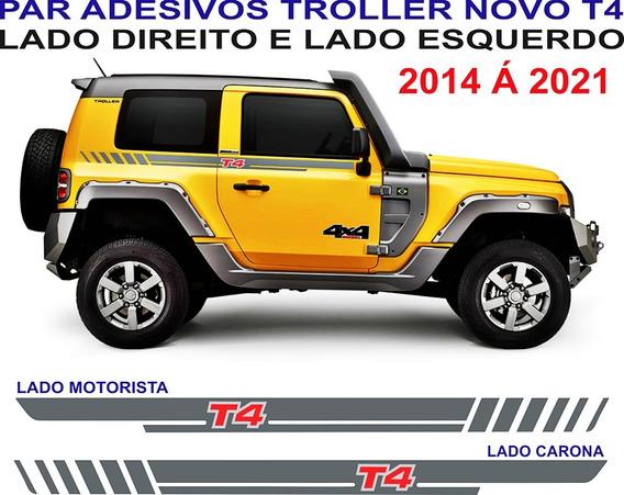 Kit Troller T4 Adesivos Lateral Porta 2014 A 2021 Par