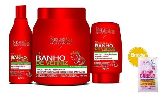Kit Banho De Verniz Morango Profissional Forever Liss