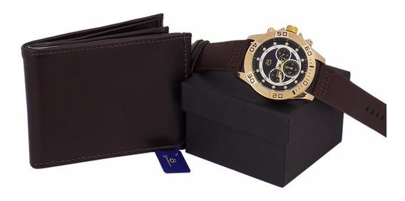 Relógios Masculino Original + Caixa + Carteira Couro