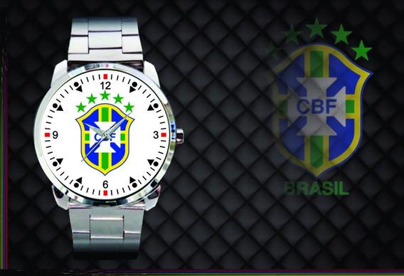 Relógio De Pulso Personalizado Cbf Brasil Copa 2018 Branco