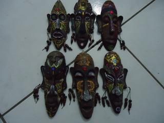 Kit 6 Escultura Mascara Africana Enfeite Ornamento