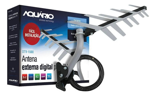 Antena Externa Tv  Uhf Hdtv Dtv-1500 Aquario Com Cabo