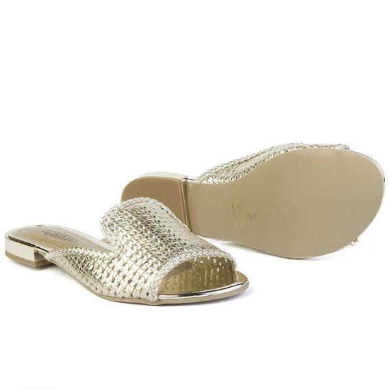 Sapato Oxford Mule Feminino Flamarian Dourado 45001-do