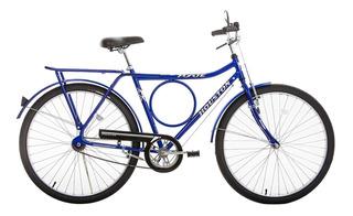 Bicicleta Azul Aro 26 Freio Varão Aço Carbono Houston