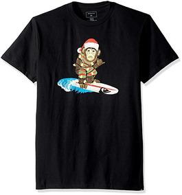 Playera Quiksilver Hombre Negra Santa Surf Monkey Aqyzt05093