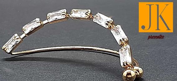Ear Cuff Brinco Fake Banhado A Ouro Em Pedra Zirconio