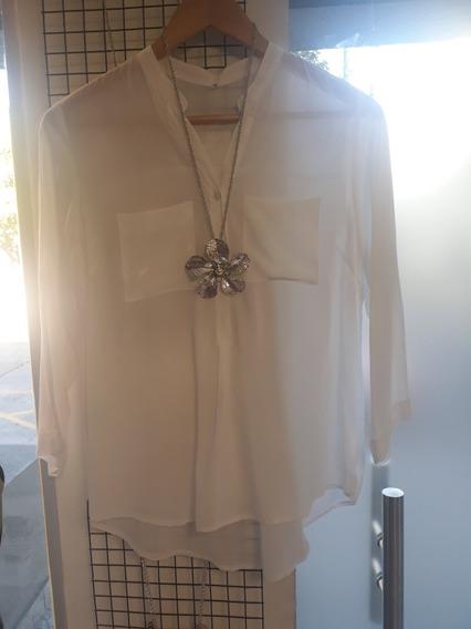 Camisa Clásica Blanca Cuello Mano Con Bolsillos