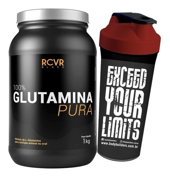 Glutamine 1kg + Shaker - Recover Black - Promoção