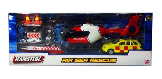 Helicoptero Rescate Mar Air Sea Rescue Auto Metal Teamsterz