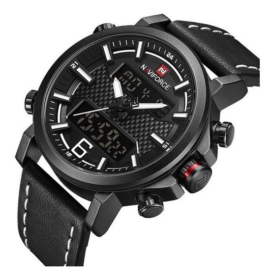 Relógio Masculino Naviforce Nf9135 Couro Adultos Digital Ana