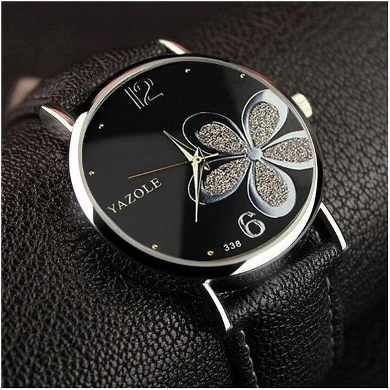 Relógio Fem Yazole Black Flower, Estilosa Dia À Dia, Casual