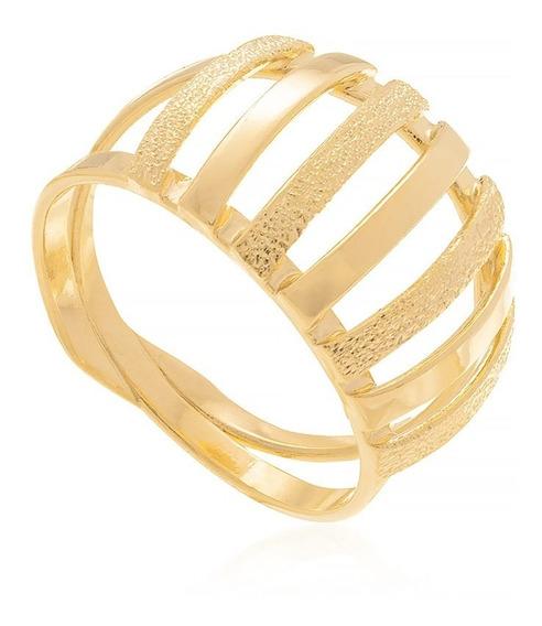 Anel Filetes Lisos E Trabalhados Rommanel F/ Ouro 511044