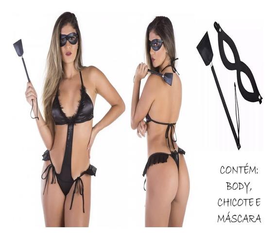 Body Feminino Adulto Tiazinha Dominadora Sensual Com Mascara