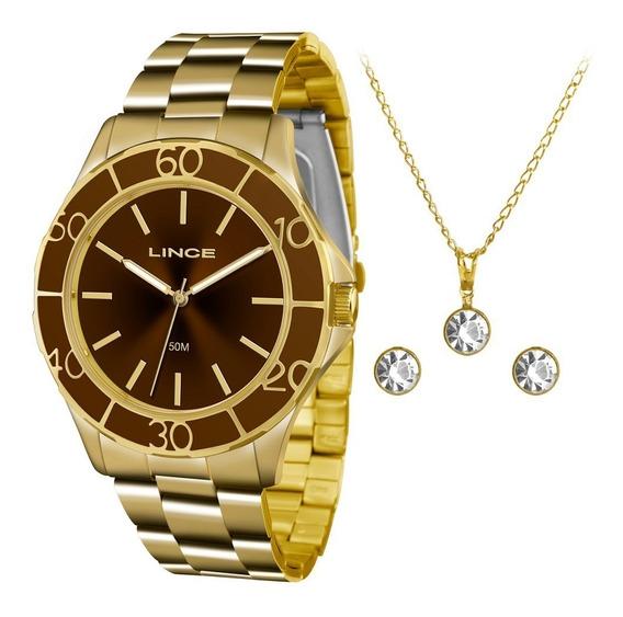 Relógio Lince Feminino Dourado Lrgj067l Ku95 M1kx + Kit