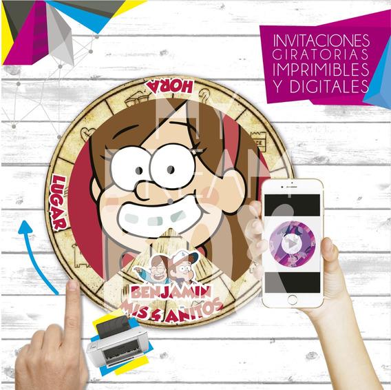 Tarjetas Invitacion Digital Imprimible Gravity Falls Mabel