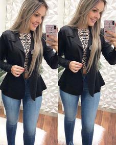 4a499f186d Blazer Casaco Jaqueta Terninhos Femininos Coloridos Neoprene ...