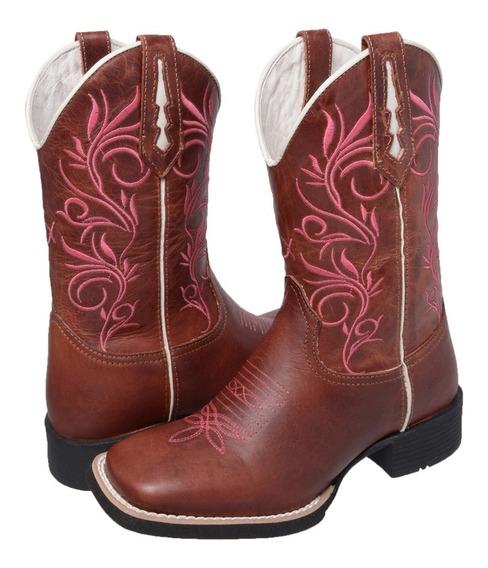 Bota Texana Feminina Country Cano Médio Bico Quadrado Couro