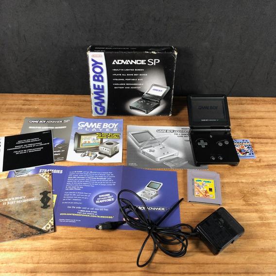 Gameboy Advance Sp Original Black Com Iluminação Na Caixa!!