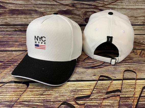 Bone Aba Curva Trucker Preto New York City Yankees Banderinh