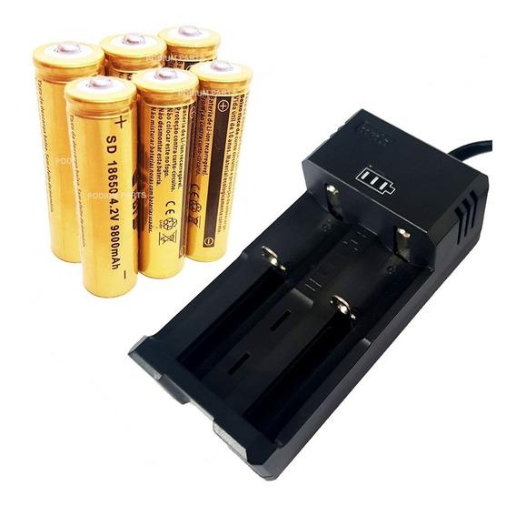 Kit Carregador Com 6 Bateria 18650 4,2v Gold Recarregável