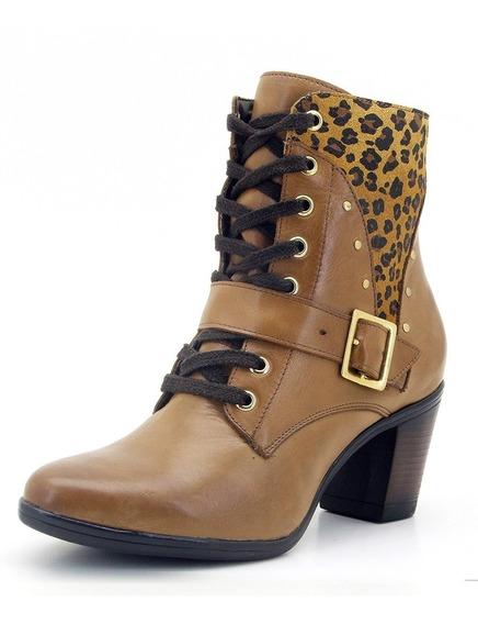 Bota Feminina Cano Curto Coturno Salto Ankle Boot Country