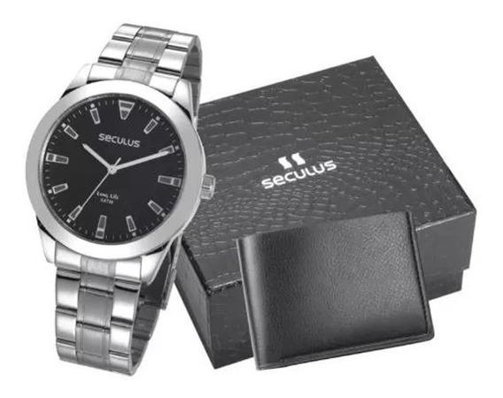 Relógio Masculino Seculus Prata + Carteira Em Couro Grátis