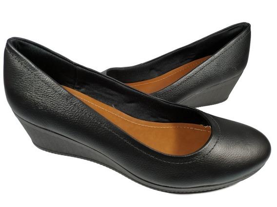 Sapato Feminino Usaflex Anabela Preto Salto Baixo