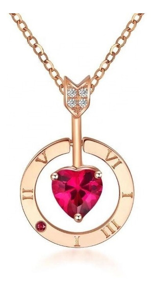 Collar Para Mujer Love You Piedra Preciosa Flecha Y Corazón