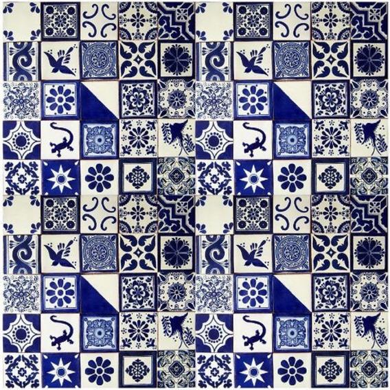 100 Mixto 10x10 Diseños Cobalto Blanco - Colonial Classico