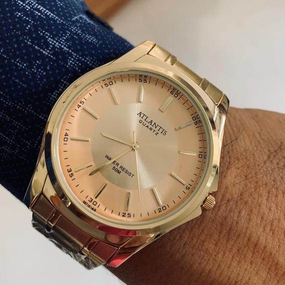 Relógio Masculino Atlantis Original A3071 Dourado Luxo