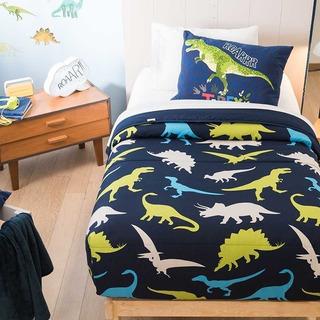 Edredon Light Individual Dinos Y Sabanas Azul Marino Vianney