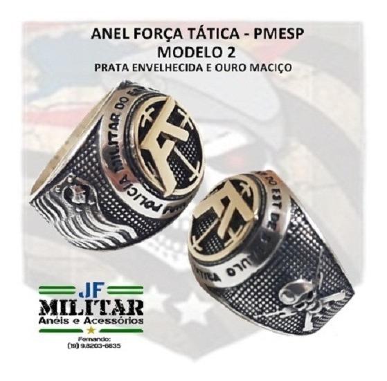 Anel Força Tática 2 - Pmesp - Prata Teor 950 E Ouro Maciço