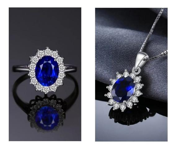 Conjunto Colar Anel Prata 925 Zircônia Azul Garantia Eterna
