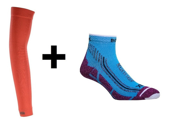 Combo Running Compresion Sox Mangas + Medias Soquetes Correr