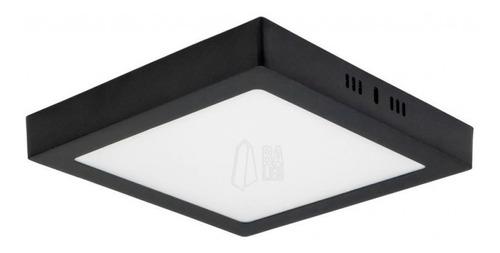 Imagen 1 de 10 de Plafon Led Cuadrado Aplicar 24w Panel Borde Negro Exterior