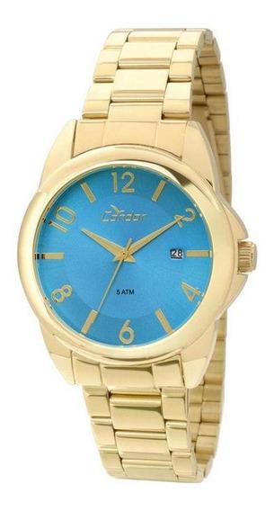 Relógio Condor Feminino Dourado Azul Co2115sx/4a