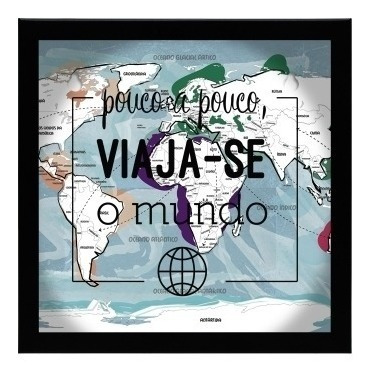 Quadro Recordações Viagem Mapa Mundi